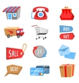 set flat and colorful shopping icons vector image vector image