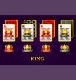set four kings playing cards suits for poker vector image