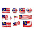 set malaysia flags banners banners symbols vector image