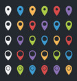 set of map pointers colorful pin icons location vector image