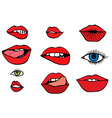 set with lips and eyes vector image