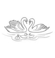 swans family in outlines vector image vector image