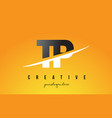 tp t p letter modern logo design with yellow vector image vector image
