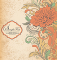 vintage orange floral invitation card vector image