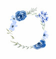 watercolor blue rose flower circle frame vector image