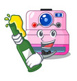 with beer instant camera isolated on a mascot vector image