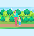 woman walking with daughter carrying bain park vector image vector image
