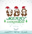 Monkeys merry christmas vector image