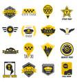 taxi web icons set yellow checkered flag star vector image