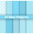 10 Blue different seamless patterns tiling vector image vector image