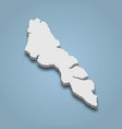 3d isometric map streymoy is an island in vector image vector image