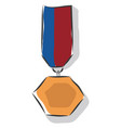 a bronze hexagonal shaped medal or color vector image vector image