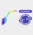 bright mosaic norway map and distress get out seal vector image vector image