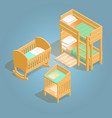 bunk bed baby crib changing table isometric icon vector image