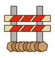 cartoon barrier caution danger road sign design vector image