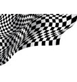 checkered flag wave on white blank space design vector image