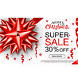 christmas sale header with red band serpantine vector image vector image