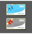 colorful gift cards with realistic ribbons vector image vector image