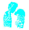 couple in love silhouette with floral ornament vector image vector image