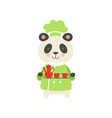 cute panda bear in chef uniform cartoon animal vector image vector image