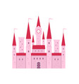 cute pink fantasy castle with gate and tower clock vector image