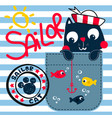 cute sailor cat fishing on pocket vector image vector image