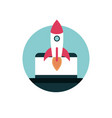 digital marketing computer rocket startup vector image vector image