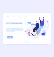 dive into work landing page vector image