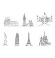famous places world vector image vector image