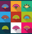 folding paper chinese hand fan set flat icons vector image