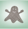 ghost sign brown flax icon on green vector image vector image