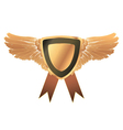 gold medal with wings vector image vector image