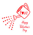 happy valentines day sign symbol watering can vector image vector image