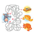 help the mouse to find the right way in the maze vector image vector image