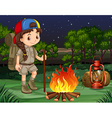 Little girl standing by the campfire vector image vector image