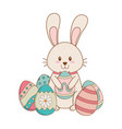 little rabbit with eggs painted easter character vector image