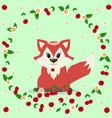 lovely fox with cherries and flowers vector image