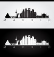 madrid skyline and landmarks silhouette vector image vector image