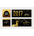 Merry christmas 2017 gold card and banner set vector image vector image