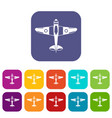military fighter plane icons set vector image vector image