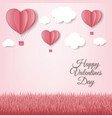 paper hearts with cloud pink background card vector image vector image