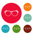 plastic eyeglasses icons circle set vector image vector image