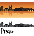 Prague skyline in orange background vector image vector image