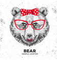 retro hipster animal bear hand drawing muzzle vector image