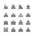 School building icons set vector image vector image