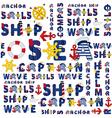 seamless sea pattern of words vector image vector image