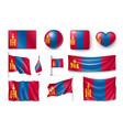 set mongolia flags banners banners symbols vector image