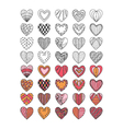 set of hand drawn heart symbols vector image vector image