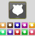 shield icon sign Set with eleven colored buttons vector image vector image