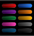 shiny wide rounded buttons set vector image vector image
